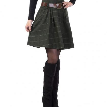 Women's High Waist Wool A-line Plea..