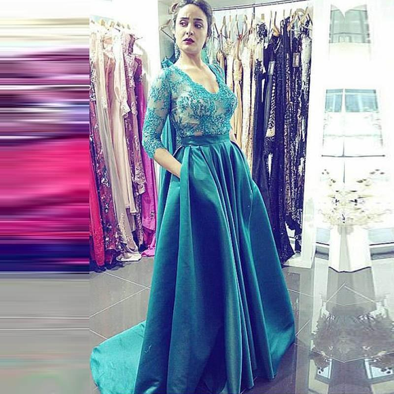 Prom Dresses,Long Prom Dresses,Sexy Appliques Prom Dresses,Long Evening Dress,Formal Dress for Women,3/4 Sleeves Graduation Dresses,Prom Dresses V Neck, Formal Occasion Dresses,Prom Dresses with Pockets