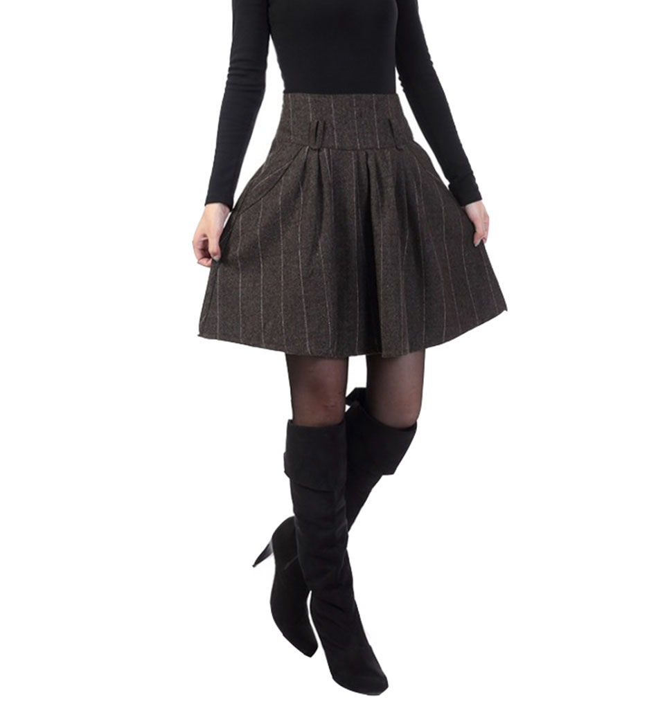 Women's High Waist Wool A-line Pleated Winter and Fall Short Skirts with Pockets and Belt