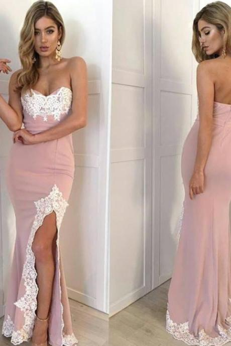 Prom Dresses, Sexy Prom Dresses, Appliques Prom Dresses with Slit,Long Evening Dress,Women Formal Dresses,Long Prom Dresses Mermaid,Prom Dresses 2017 Long Sexy