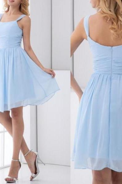 Prom Dresses,Short Prom Dresses,Blue Chiffon Prom Dress,Simple Evening Dress Short,Knee Length Prom Dress,Cheap Formal Gowns,Evening Dresses for Women,Short Chiffon Bridesmaid Dresses Short