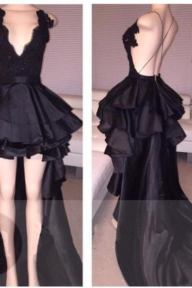 Prom Dresses,High Low Prom Dresses,Prom Dresses V Neck,Black Prom Dresses with Ruffles,Party Dresses Long Backless,Sexy Cocktail Dresses,Sexy Graduation Dresses for Juniors