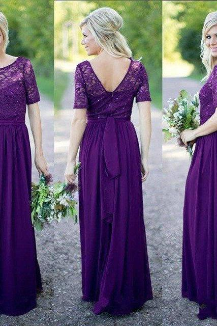Bridesmaid Dresses,Short Sleeves Bridesmaid Dresses,Pirple Chiffon Bridesmaid Dresses,Bridesmaid Dresses Long,Bridesmaid Dresses A-line,Cheap Bridesmaid Dresses,Bridesmaid Dresses Plus Size