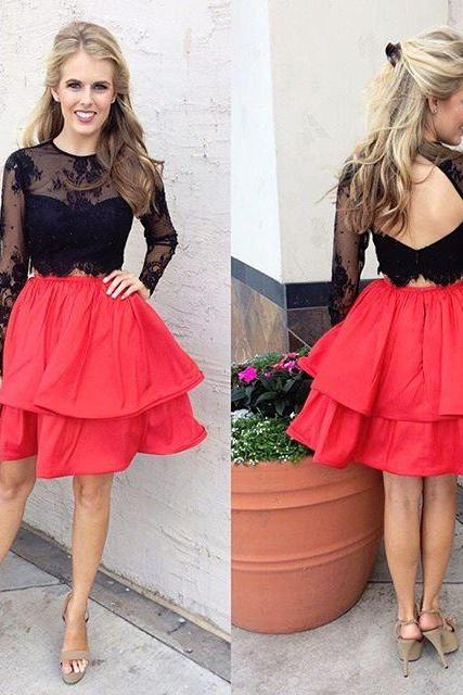 Homecoming Dresses,Short Two Piece Homecoming Dress, Long Sleeves Homecoming Dress,Black Lace Prom Dress,Homecoming Dress with Black Lace Top,Open Back Prom Dresses Short