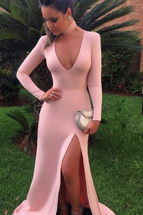Prom Dresses,V Neck Prom Dresses,Prom Dresses Long Sleeves,Prom Dresses 2017,High Slit Prom Dresses,Evening Dresses for Women,Long Party Dresses,Long Formal Gowns