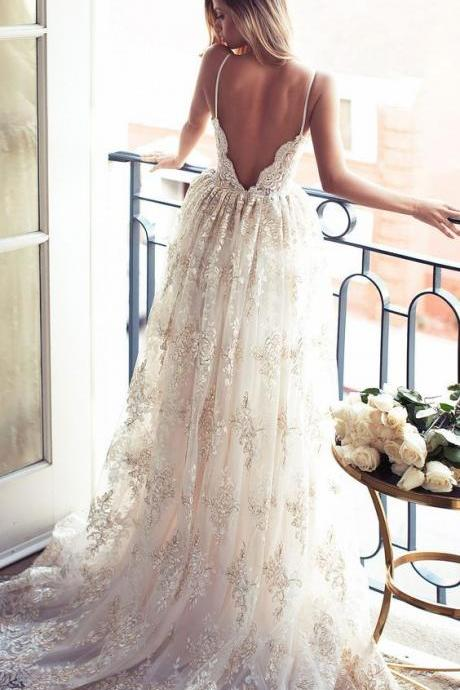 2017 New Spaghetti Straps Backless V Neck Summer Wedding Dresses A-line Boho Bridal Gowns with Appliques Lace