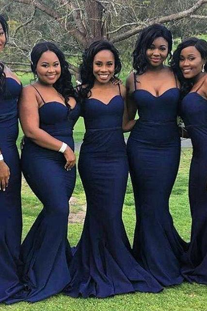 Bridesmaid Dresses,Bridesmaid Dresses Long,Navy Blue Satin Bridesmaid Dresses,Spaghetti Straps Bridesmaid Dresses,Bridesmaid Dresses Mermaid Long,Bridesmaid Dresses Plus Size,Sexy Wedding Party Gowns
