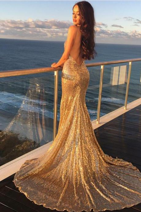 Prom Dresses.Gold Sequin Prom Dresses,Mermaid Prom Dresses Long,Backless Evening Dresses,Women Formal Gowns Long,Sexy Long Party Dresses,Formal Gowns,Prom Dresses Plus Size