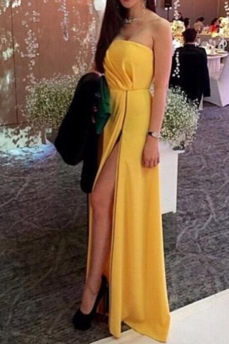 A-line Yellow Chiffon Prom Dresses Sexy High Slit Party Dresses Simple Long Evening Formal Gowns Strapless