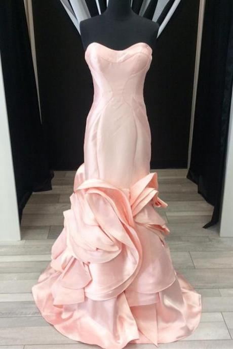 pink mermaid dress,mermaid evening dress,ruffles prom dress,sexy prom dress,mermaid prom dresses ,Sweetheart Prom Dress