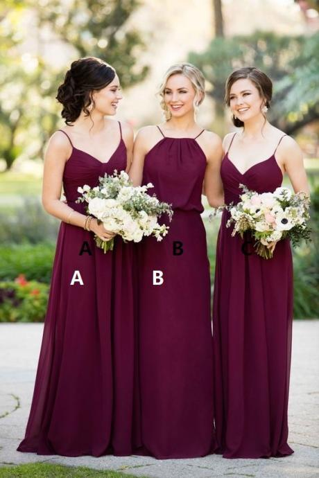 Bridesmaid Dresses for Women,Long Bridesmaid Dress,Burgundy Bridesmaid Dress, Mismatched Bridesmaid Dress,Chiffon Bridesmaid Dress,Wedding Party Dresses