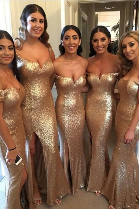 Long Gold Sequin Bridesmaid Dresses Mermaid Sexy Side Slit Evening Dresses Formal Gowns Off the Shoulder Wedding Party Dresses for Women