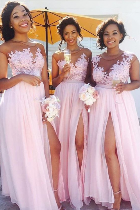 Bridesmaid Dresses for Women,Long Bridesmaid Dress,Pink Chiffon Bridesmaid Dress, High Slit Bridesmaid Dress,Chiffon Bridesmaid Dress,Wedding Party Dresses
