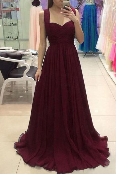 Burgundy Chiffon Prom Dresses Long A-line Floor-length Formal Gowns Simple Evening Dresses Sexy Party Dresses for Women