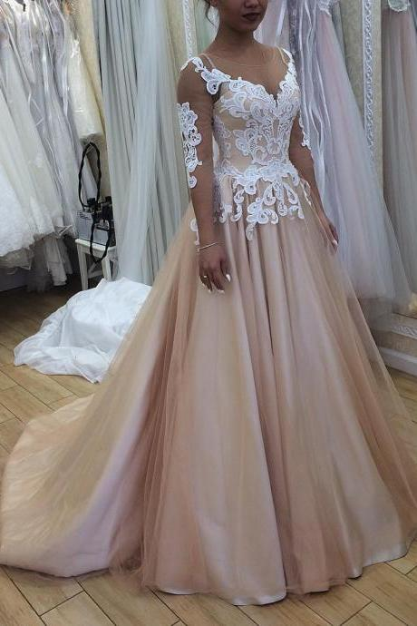 O Neck Prom Dresses 3/4 Sleeves Ball Gowns Champagne Tulle Formal Gowns Lace Appliques Backless Evening Dresses Sexy Party Dresses