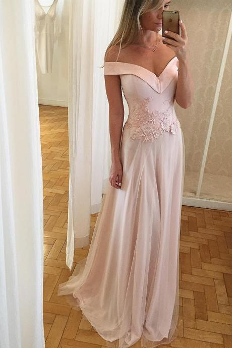 A-line Prom Dresses Long A-line Tulle Lace Appliques Evening Dresses Formal Gowns V Neck Party Dresses Off the Shoulder
