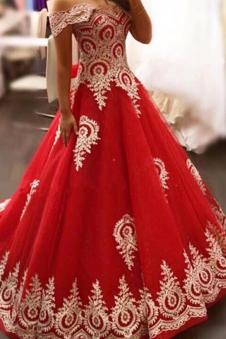 Red Tulle Long Wedding Dress 2018 Off the Shoulder Bridal Gowns Ball Gowns with Appliques