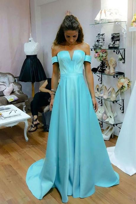 Blue Satin Strapless Prom Dresses Long A-line Evening Dresses Off the Shoulder Formal Gowns Sexy Graduation Party Dresses