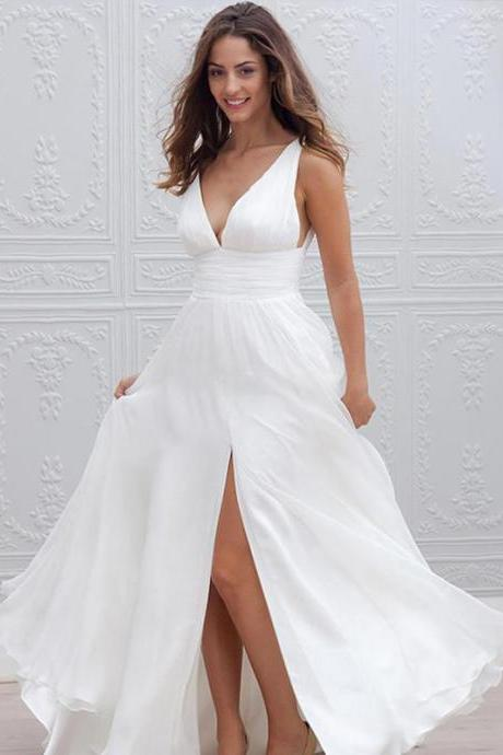 Wedding Dress,White Bridal Gowns,Long A-line Wedding Dress,V Neck Wedding Dress,Wedding Dress with Side Slit,Wedding Dress for Women,Cheap Wedding Dress