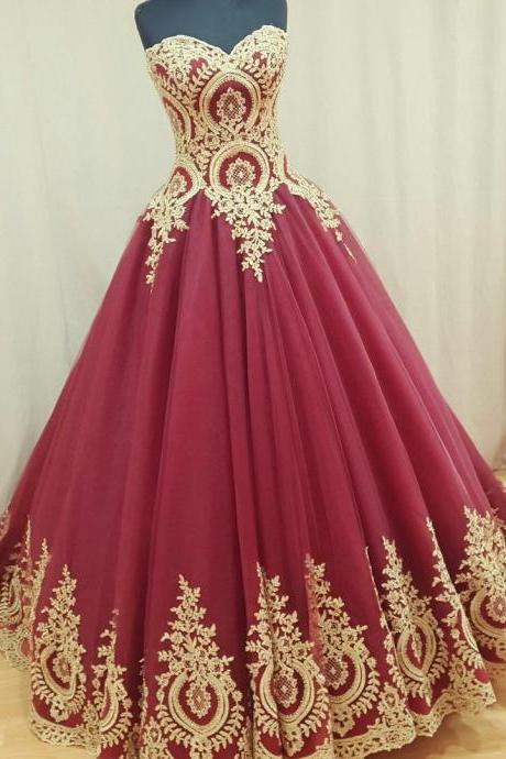 Burgundy Wedding Dress,Sweetheart Bridal Gowns,Long Ball Wedding Dress,Gold Appliques Wedding Dress,Wedding Dress,Long Wedding Dress for Women,Cheap Wedding Dress