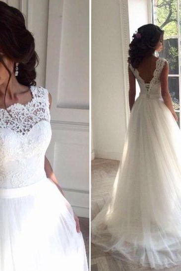 White Wedding Dress,Tulle Lace Bridal Gowns,Long A-line Wedding Dress,Women Wedding Dress,Wedding Dress Long,Wedding Dress for Women,Cheap Wedding Dress
