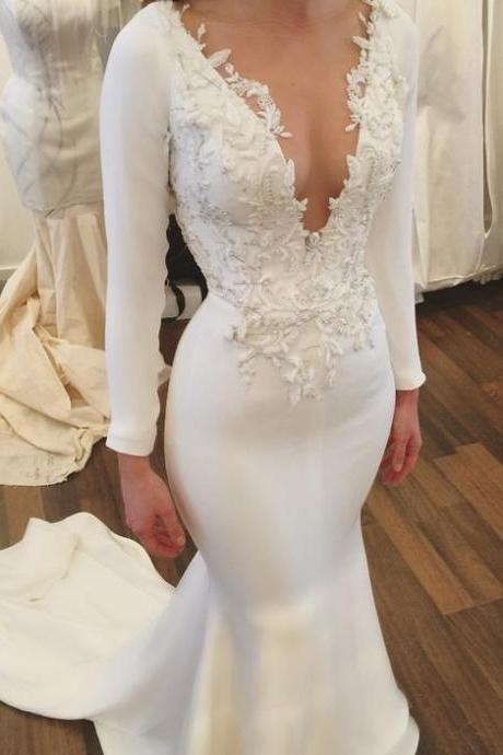 Mermaid Wedding Dress,White Bridal Gowns,Long Sleeves Wedding Dress,V Neck Wedding Dress,Wedding Dress with Appliques,Wedding Dress for Women,Cheap Wedding Dress