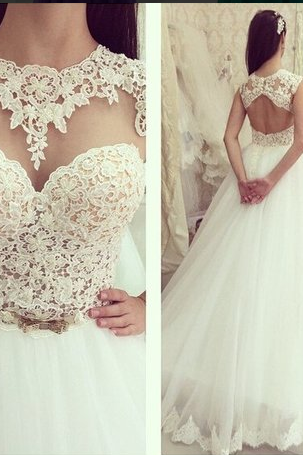 Wedding Dress,Lace Wedding Dresses,Tulle Wedding Dress,White Wedding Gown,Sexy Bridal Dress,Wedding Dress Open Back,Wedding Dress Plus Size