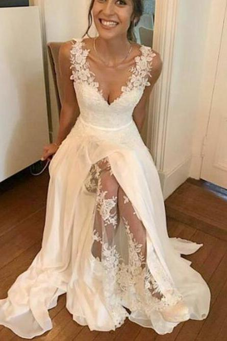 Wedding Dress,White Bridal Gowns,Long A-line Wedding Dress,V Neck Wedding Dress,Wedding Dress with Side Slit,Wedding Dress for Women,Appliques Wedding Dress