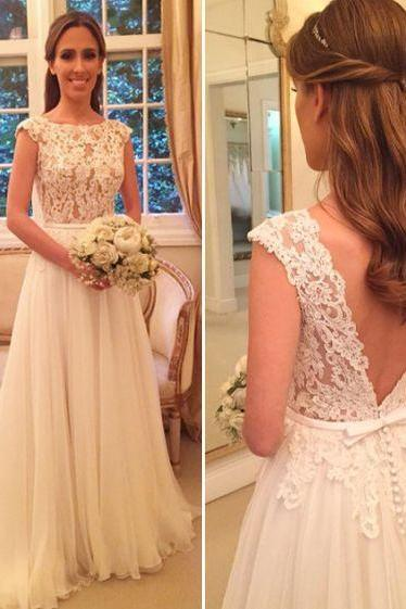 Wedding Dress,White Bridal Gowns,Long A-line Wedding Dress,Cap Sleeve Wedding Dress,Wedding Dress Lace Top,Wedding Dress for Women,Cheap Wedding Dress
