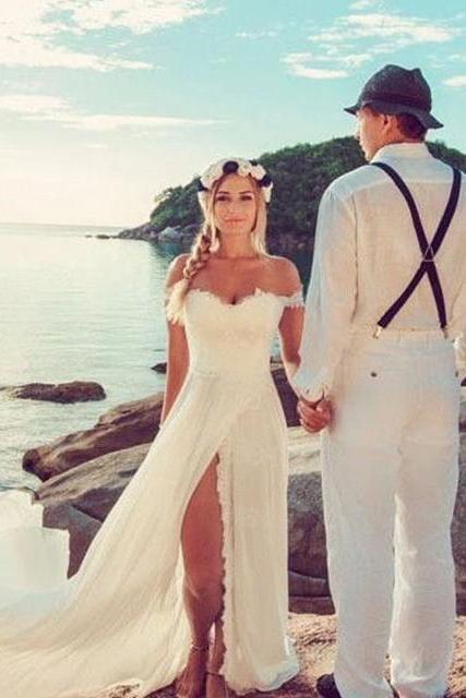 Bridal Dress,White Wedding Dress,Chiffon Lace Bridal Gowns,Off the Shoulder Wedding Dress,Women Wedding Dress,Wedding Dress Long,Wedding Dress for Women,High Slit Wedding Dress