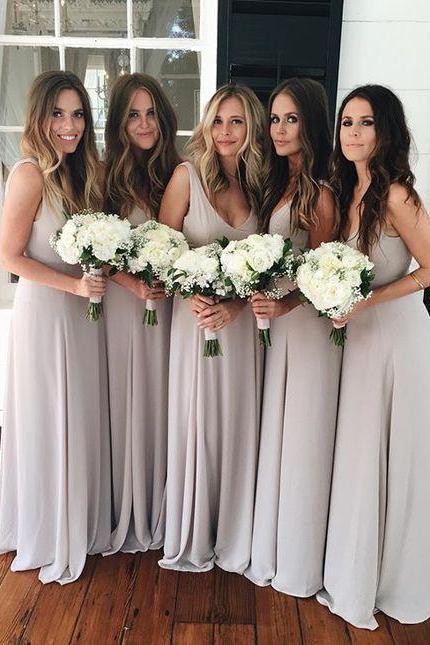 Bridesmaid Dress,Long Bridesmaid Dress,Chiffon Wedding Party Gowns,Bridesmaid Dress for Women,V Neck Bridesmaid Dresses,Bridesmaid Dress Plus Size