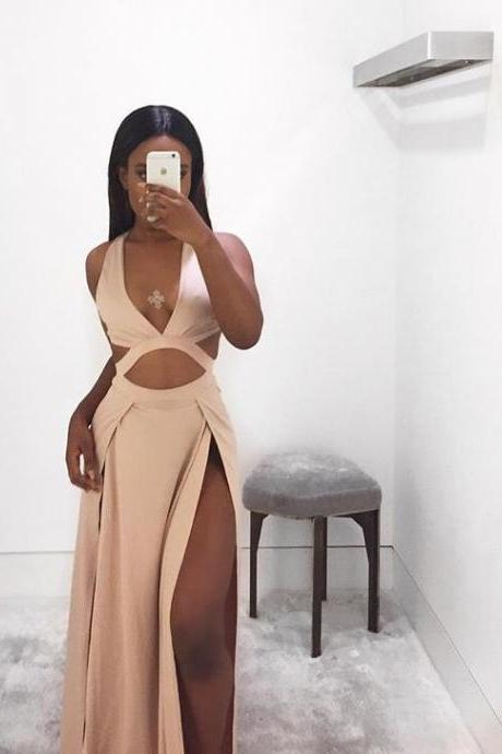 Long Prom Dress,High Slit Prom Dress,Sexy Prom Dress,V Neck Prom Dress,Teens Prom Dress,Charming Prom Dress,Slit Party Dress,Long Evening Dress,Fashion Formal Dress,Long Party Dress