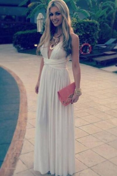 White Prom Dress,Simple Prom Dress,V Neck Prom Dress,Long Chiffon Prom Dress,Teens Prom Dress,Charming Prom Dress,Sexy Party Dress,Long Evening Dress,Fashion Prom Dress, Long Party Dress for Girls