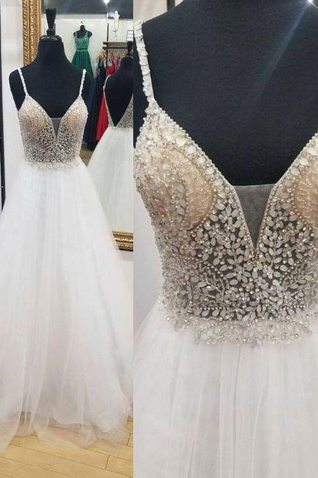 Long Prom Dress,White Tulle Prom Dress,Beaded Prom Dress,V Neck Prom Dress,Teens Prom Dress,Charming Prom Dress,Spaghetti Straps Party Dress,Long Evening Dress,Fashion Formal Dress,Long Party Dress
