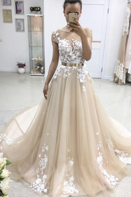Tulle Prom Dress,Appliques Prom Dress,Cap Sleeves Prom Dress,Long Prom Dress,Elegant Prom Dress,Charming Prom Dress,Sexy Party Dress,Long Evening Dress,Fashion Prom Dress, Long Party Dress
