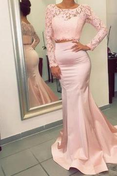 Two Piece Prom Dress,Lace Prom Dress,Sexy Prom Dress,Long Prom Dress,Mermaid Prom Dress,Pink Prom Dress,Sexy Party Dress,Long Evening Dress,Fashion Prom Dress, Long Party Dress