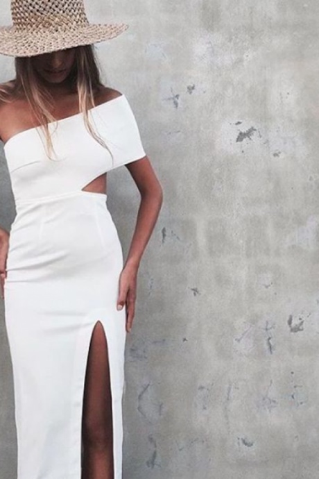White Prom Dress,One Shoulder Prom Dress,High Slit Prom Dress,Fashion Prom Dress,Sexy Party Dress,Long Evening Dress 2018