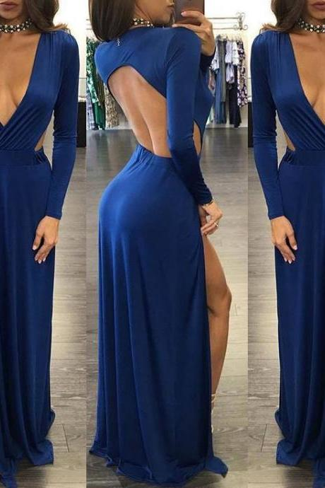 Sexy Open Back Party Dresses Royal Blue Long Sleeve Prom Dress 2018 Elegant Formal Evening Dress