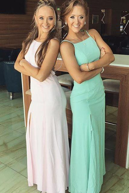 Cheap Chiffon Sexy Party Dress Elegant Straps Mermaid Long Prom Dress with Slit