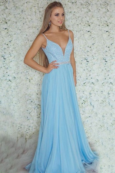 A-line Blue Chiffon Prom Dresses Long Sexy Evening Dresses V Neck Spaghetti Straps Formal Pageant Gowns Sexy Party Graduation Dresses with Beads for Teens Girls
