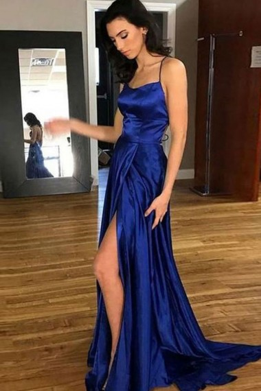 Royal Blue Satin Backless Prom Dresses Long Sexy Evening Dresses Criss-cross Straps Formal Pageant Gowns High Slit Party Graduation Dresses for Teens Girls