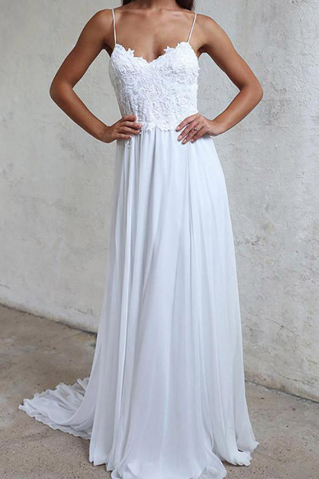 Chiffon Lace White Wedding Dresses A-line Spaghetti Straps Bridal Gowns Backless for Women