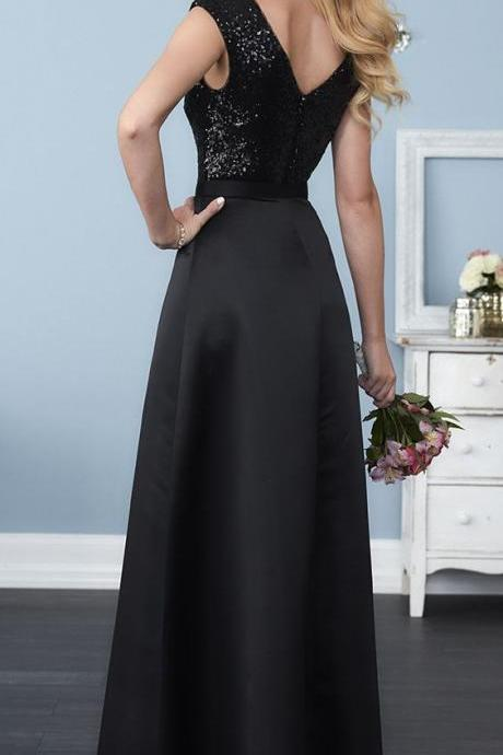 Black Satin Sequin Top Prom Dresses V Neck Long Backless Evening Formal Dress Sexy Party Dresses for Women