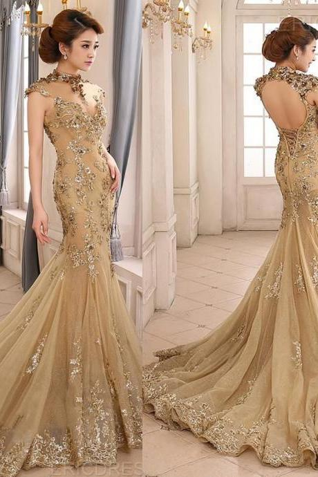 Long Backless Champagne Party Prom Dresses Appliques Mermaid Formal Evening Pageant Gowns