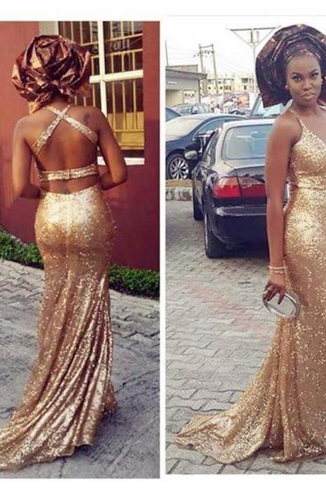 Gold Sequins Long Evening Dresses 2016 Halter Mermaid Long Party Prom Gowns With Criss Cross Straps