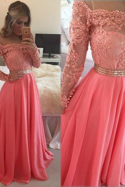 Long Sleeves A-line Coral Chiffon Prom Party Dresses Appliques Long Formal Evening Pageant Gowns