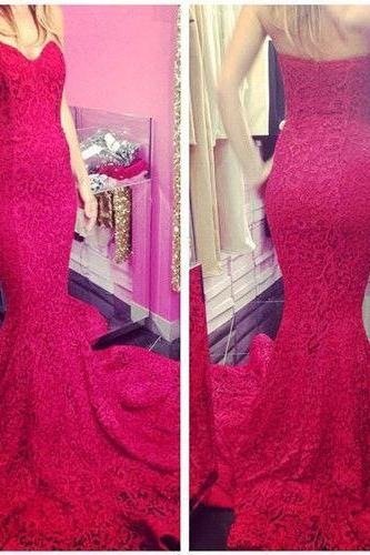 New Red lace Sexy Long Sweetheart Mermaid Prom Dresses Formal Party Evening Dress Ball Gowns