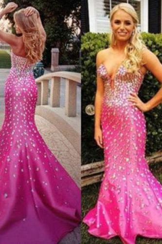 Sexy Long Satin Beaded Crystals Mermaid Formal Prom Dresses Party Ball Evening Pageant Wedding Gowns