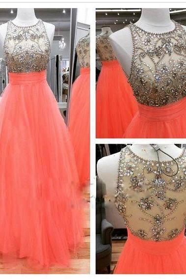Long Orange Tulle Beaded A-line Prom Dress Party Cocktail Dresses Long Homecoming Dress Graduation Dress for Teens