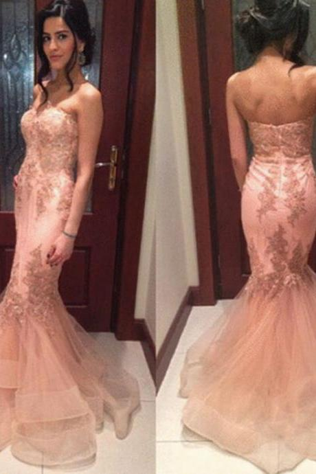 New Appliques Tulle Sweetheart Mermaid Ruffles Sleeveless Prom Dresses 2016 Backless Floor Length Formal Gowns Sexy Party Cocktail Dresses